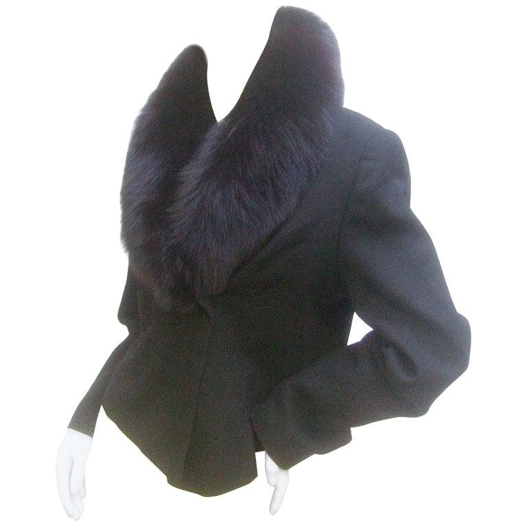 Neiman Marcus Fox Collar Black Wool Jacket c 1980s