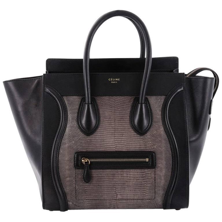Celine Luggage Handbag Lizard and Leather Mini For Sale
