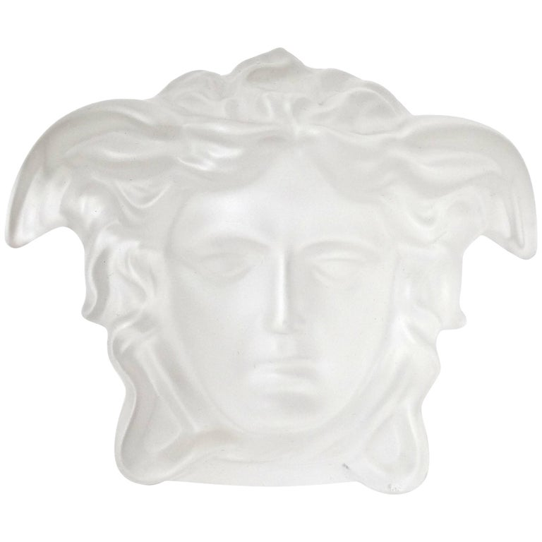 Versace Medusa Head Frosted Paperweight For Sale