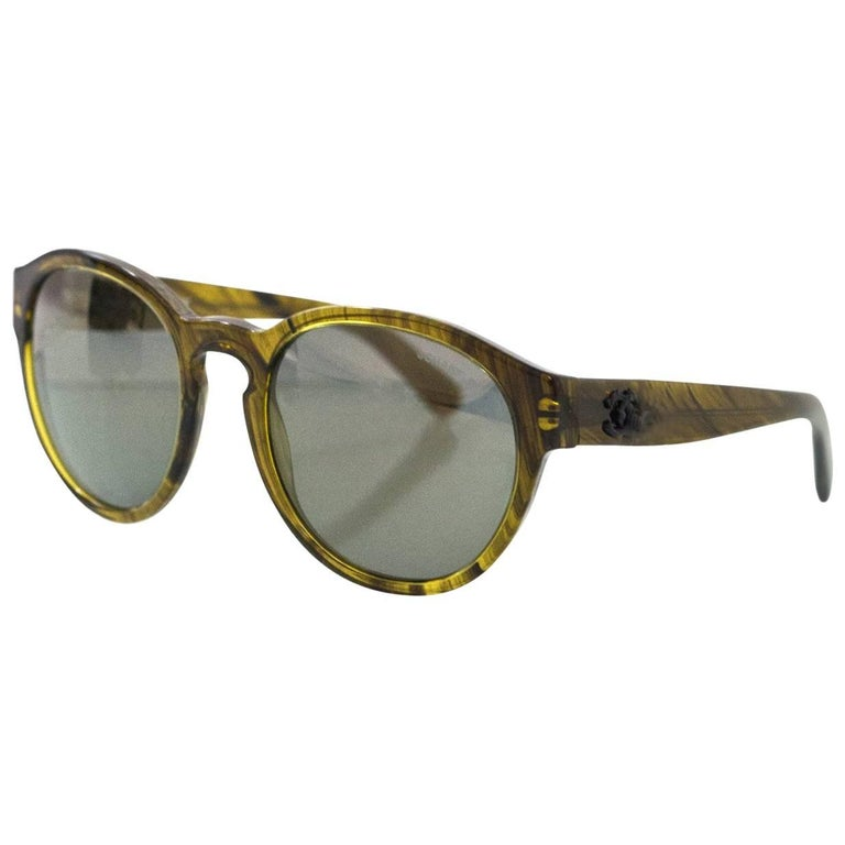 Chanel Green Pantos Fall Round Frame 5359 Sunglasses  For Sale