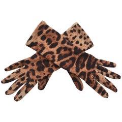Dolce & Gabbana Leopard Print Gloves   S