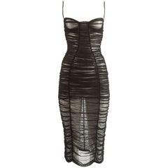 Dolce & Gabbana Spring-Summer 2001 black ruched tulle evening dress