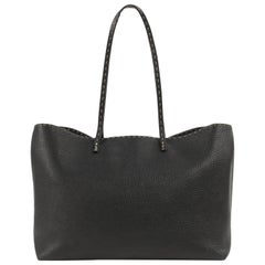 "FENDI ""Selleria"" Black Pebbled Roman Leather Roll Tote Bag Shopper"
