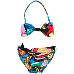 Michaele Vollbracht Multicolor Abstract Bikini for Sofere Swimsuit, 1980s