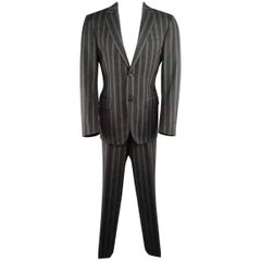 Men's CANALI 40 Regular Gray Gradient Stripe Wool / Cashmere Notch Lapel Suit