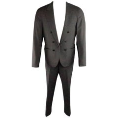 Men's LANVIN 40 Short Charcoal Wool Black Satin Trim Peak Lapel Suit