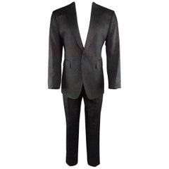 Men's CoSTUME NATIONAL 42 Black Metallic Sparkle Brocade Peak Lapel Suit