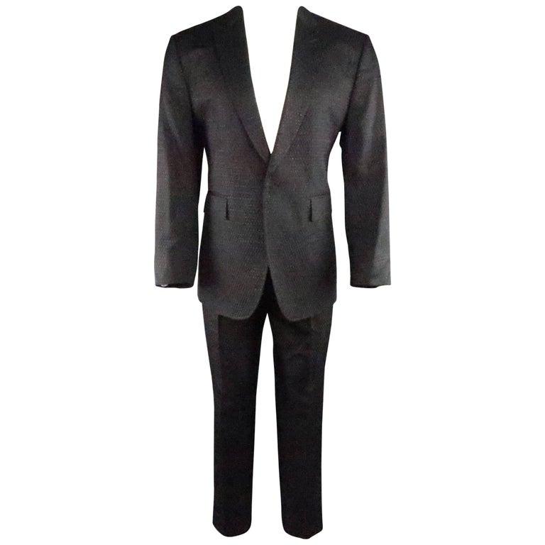 Men's CoSTUME NATIONAL 42 Black Metallic Sparkle Brocade Peak Lapel Suit