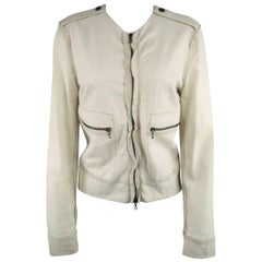 LANVIN Size 4 Off White Leather Collarless Ruffle Zip Jacket