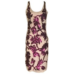 Givenchy Purple Sequin Embellished Floral on Nude Mesh Dress