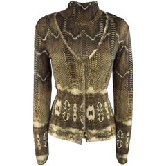 ROBERTO CAVALLI Size 8 Brown Python Print Cashmere Blend V Neck Cardigan Set