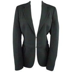AKRIS Size 10 Forest Green Wool Zip Off Sport Coat Jacket