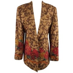 VALENTINO Size 12 Brown Boroque & Red Floral Print Open Sport Coat