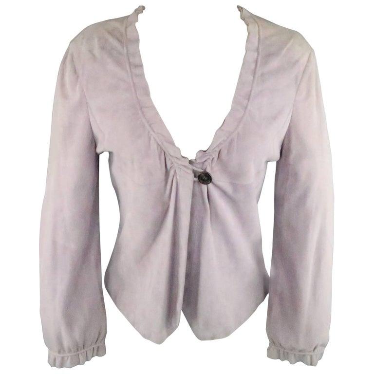 GIORGIO ARMANI Size 12 Lavender Suede Ruffle Trim Cardigan Jacket