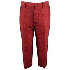 Men's DSQUARED2 Size 32 Dark Red Wool Silk Cropped Tuxedo Pants