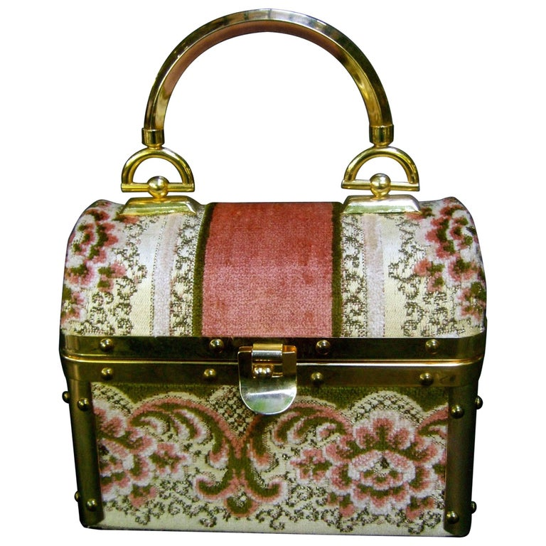 Borsa Bella Italian Brocade Box Purse c 1970s  1
