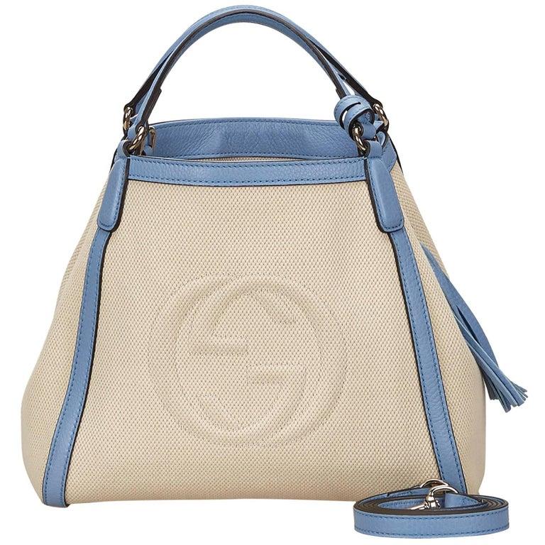 Gucci White Soho Canvas Handbag 1