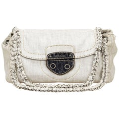 Prada Gray Denim Pattina Shoulder Bag