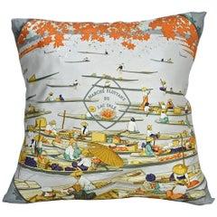 """Vintage Hermès Silk Scarf Pillow """"Marche Flottant Du Lac Inle"""" Large"""