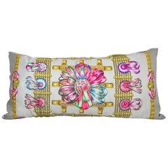 """Vintage Hermès Silk Scarf Pillow """"Les Rubans Du Cheval"""" Large"""