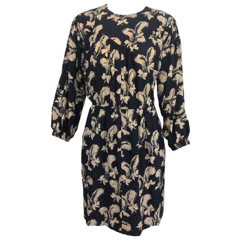 Vintage Yves Saint Laurent black and cream plume print silk dress 1970s