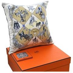 "Vintage Hermès Silk Scarf Pillow ""Musee Vivant du Cheval Chantilly"" Medium"