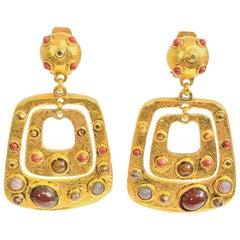 Jose and Maria Berrera stone set gold door knocker earrings