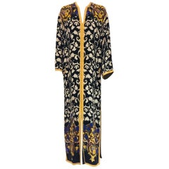 Balmain Black and White Multi Floral Print Silk Kaftan With Gold Trim