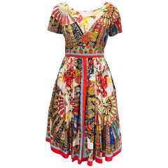 Dramatic Dolce & Gabbana Cotton Majolica Print Fit and Flare Short Sleeve Dress