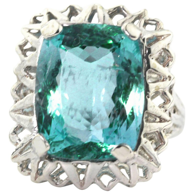 Unique Custom 8.25 Carat Aquamarine Cocktail Ring For Sale