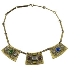 French Mid Century Modern Bronze Choker Necklace Colorful Poured Glass Cabochon