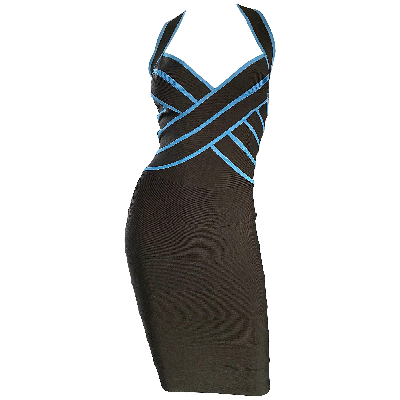 1990s Herve Leger Couture Brown + Blue Vintage 90s Bodycon Bandage Halter Dress