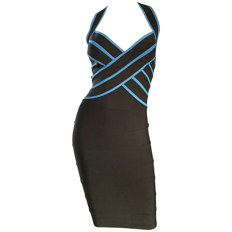 1990s Herve Leger Couture Brown + Blue Vintage 90s Bodycon Bandage Halter Dress