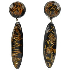 Oversized Black Lucite Long Drop Clip on Earrings with Gilt Beads Inclusions