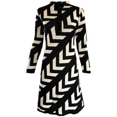 Chic 1960s Black and White Knit Wool Long Sleeve Vintage 60s A Line Stripe Dress