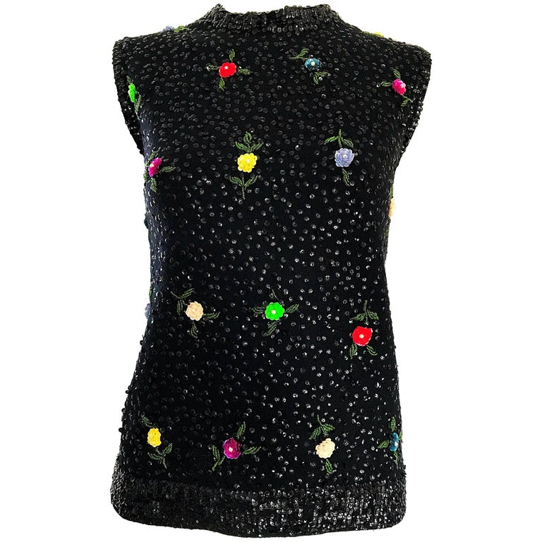 1950s Black Fully Sequined Angora Wool 50s Vintage Sleeveless  Sweater Top