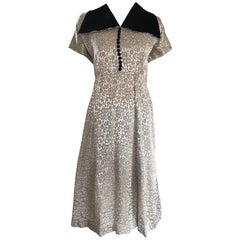 Large Size 1940s Silver Grey and Black Silk + Velvet Flower 40s Vintage Dress