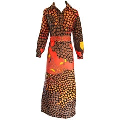 1970s Roos Atkins Autumnal Abstract Print Belted Knit Vintage 70s Maxi Dress