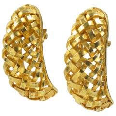 Dominique Aurientis Paris Vintage Gilt Metal Clip-on Earrings Braided Design