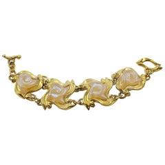French Designer L'Or Du Soir Gilt Metal & Frosted Resin Byzantine Link Bracelet