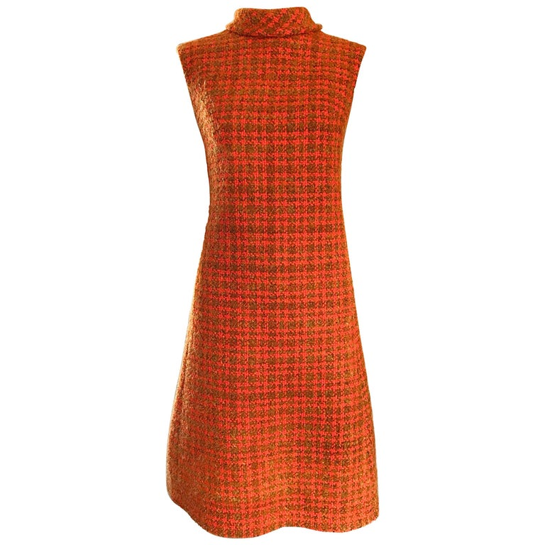 6704c6fc9de Chic 1960s Burnt Orange Wool Boucle Checkered Vintage 60s A - Line Dress  For Sale