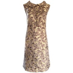 1960s Gold + Taupe + Brown Silk Brocade Regal Vintage 60s Mod Shift A Line Dress