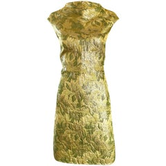 1960s Joseph Magnin Gold + Chartreuse Green Silk Brocade 60s Vintage Shift Dress