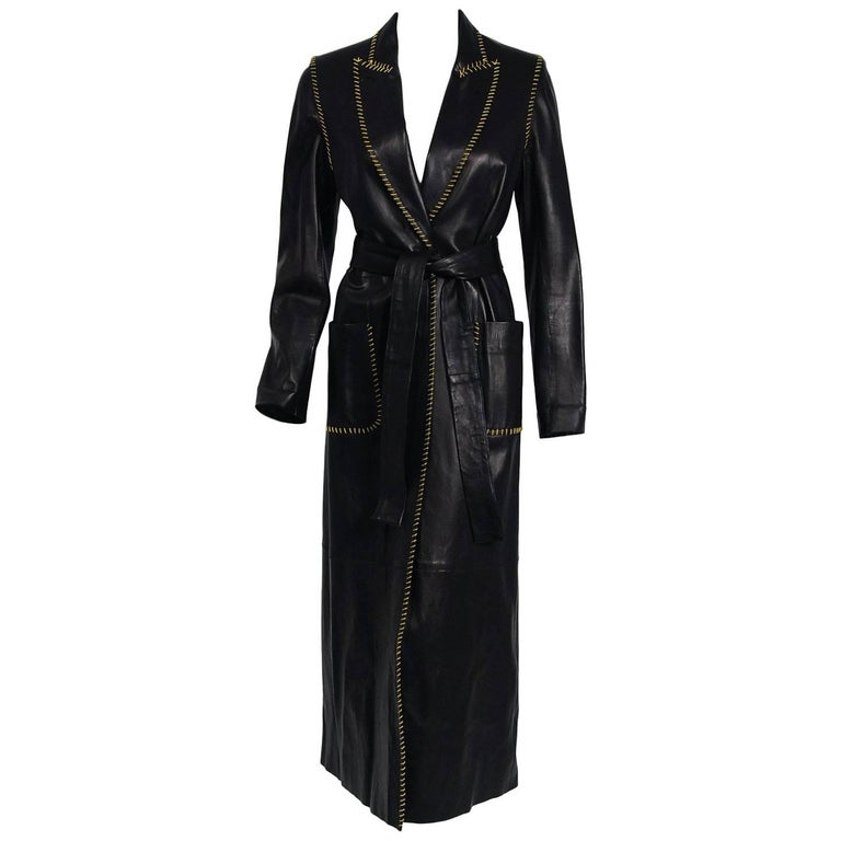 2000 Alexander McQueen for Givenchy Runway Whipstitch Black Leather Trench Coat