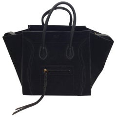 Celine Phantom Black Suede Luggage Tote