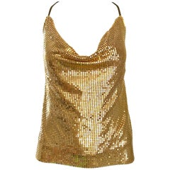 1970s Gold Metal Mesh Chainmail Amazing 70s Vintage Disco Studio 54 Halter Top