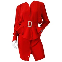 1980s Thierry Mugler Red Suit Set