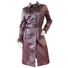 1990s Emilio Pucci Dusty Lilac Satin Trenchcoat