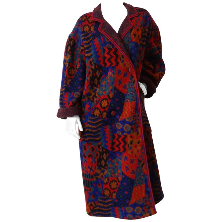 1980s Missoni Patchwork Oversized Knit Coat