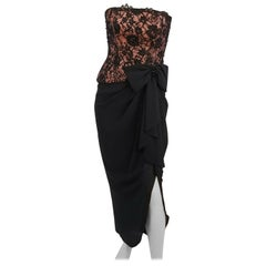 1980s A.J. Bari Corseted Lace Bodice Cocktail Dress w/ Draped Skirt